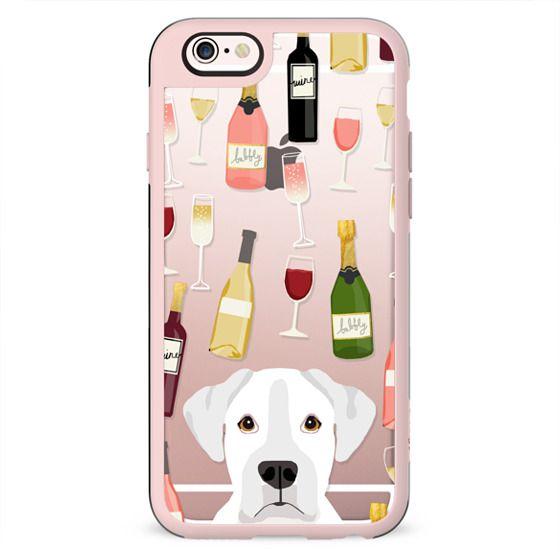 Boxer white coat wine cocktails rose champagne dog breeds custom cell phone case for dog lovers