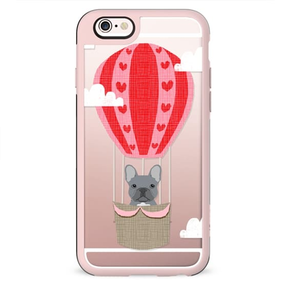 French Bulldog grey dog breed pet portrait cell phone case hot air balloon funny illustration clear case