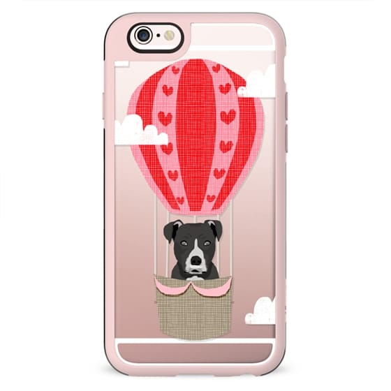 Pitbull black coat dog breed cute cell phone case with hot air balloon funny kids