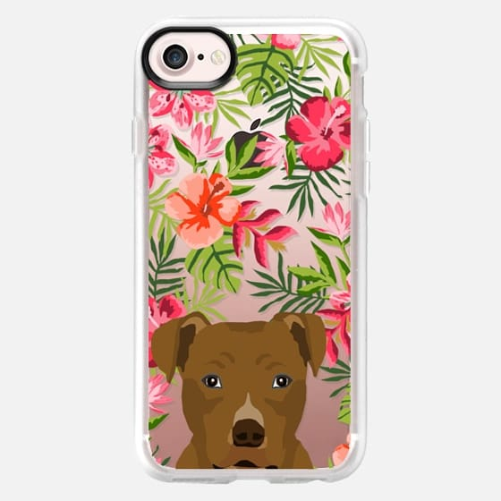 Pitbull brown coat hawaiian floral flowers clear case tropical palm trees summer dog breeds - Classic Grip Case