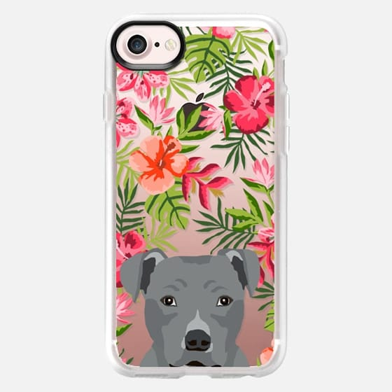 Pitbull grey coat hawaiian floral flowers clear case tropical palm trees summer dog breeds - Classic Grip Case