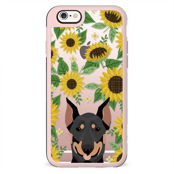 Doberman Pinscher dog breed clear case transparent sunflower florals summer cell case iphone dog breed pet art