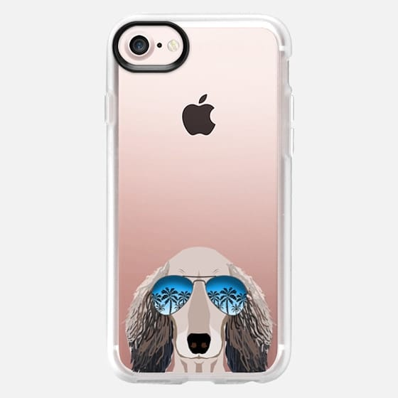 Dachshund doxie dog clear case pet friendly ombre summer sunglasses tropical pets