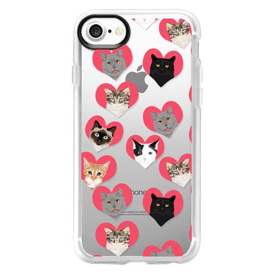 Classic Grip iPhone 7 Case , Cat Love , cute hearts cat cats iphone 6 case,  cats hearts, love cats, cats clear case, cute cats