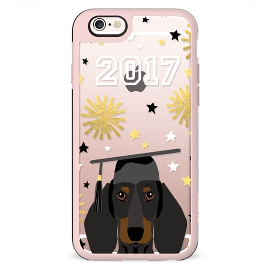 Dachshund black and tan coat dog breed pet portrait clear cell phone case transparent graduation gifts 2017
