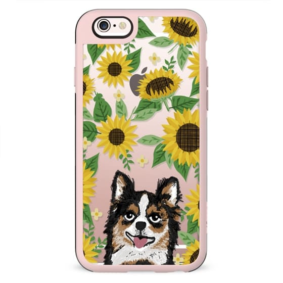 Chihuahua longhaired sunflowers floral sunflower pattern cell phone clear case transparent pet friendly gifts