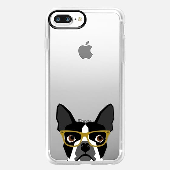 Boston Terrier Hipster Glasses cell phone case for transparent iPhone lovers -