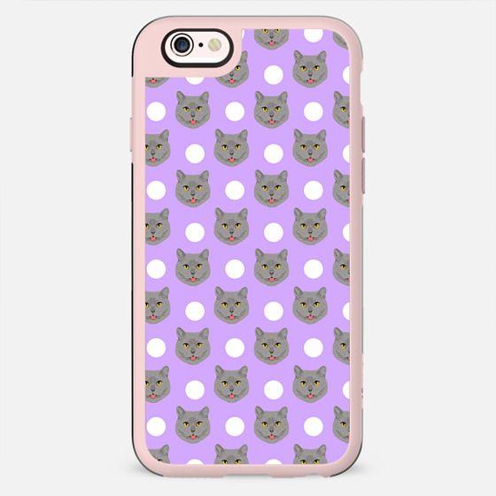 British Shorthair - polka dotted pattern grey cat in pastel lavender purple pattern cute phone case for cat ladies - New Standard Case