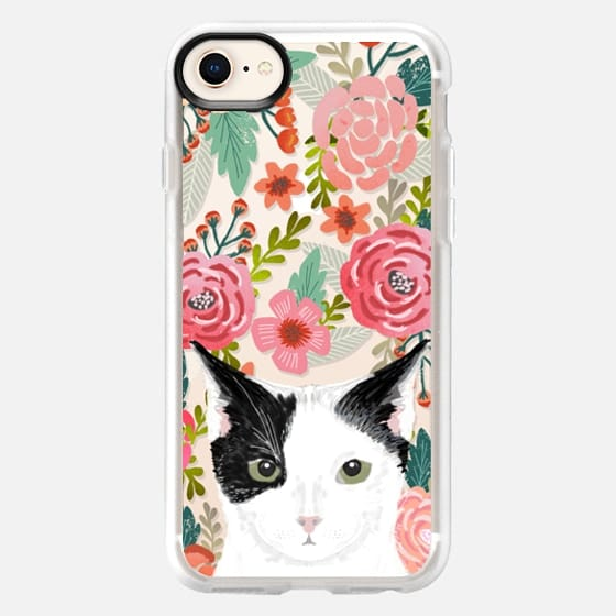 Tuxedo Cat black and white fluffy kitten cute cat cell phone transparent florals iphone6 gift for cat lady - Snap Case