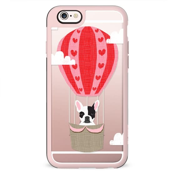 French Bulldog black and white dog breed pet portrait cell phone case hot air balloon funny illustration clear case