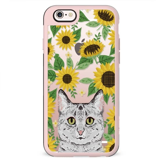 Egyptian Mau Cat sunflowers floral sunflower pattern cell phone clear case transparent pet friendly gifts