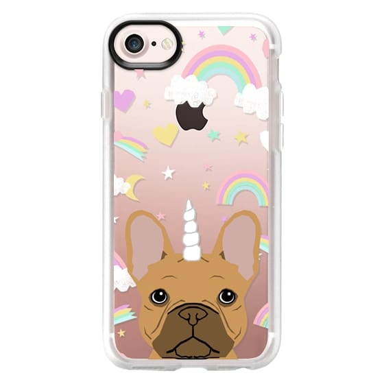 French Bulldog fawn coat frenchie unicorn and rainbows clear case transparent cell phone dog pet friendly gifts