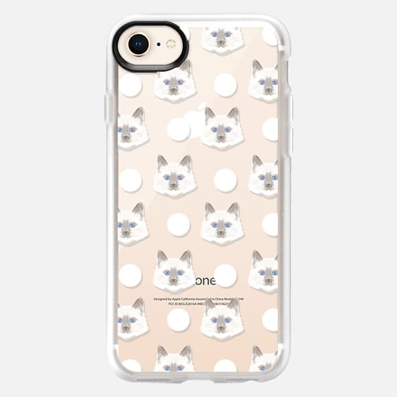 adorable kitten face dot polka dot white clear cell phone iphone transparent case with cat  - Snap Case