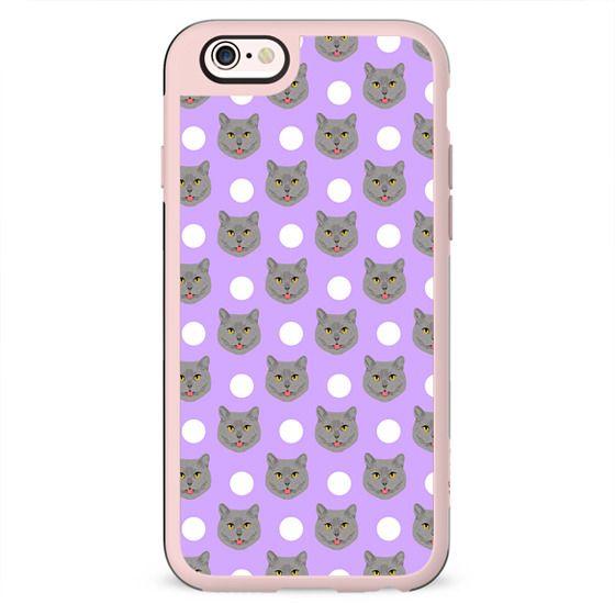 British Shorthair - polka dotted pattern grey cat in pastel lavender purple pattern cute phone case for cat ladies