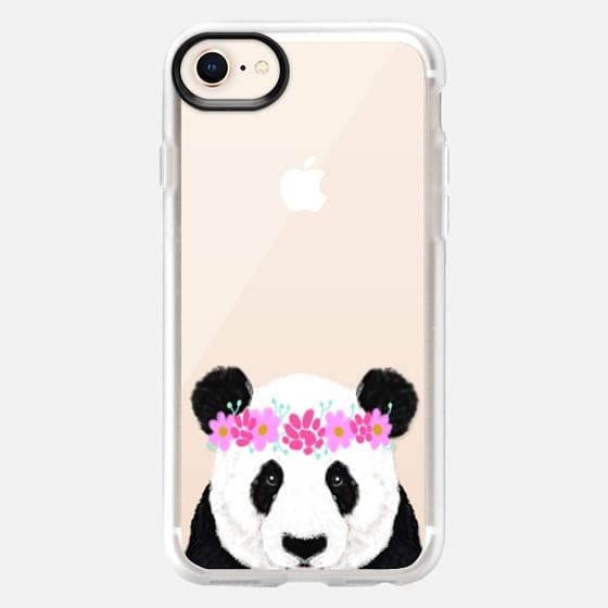 Panda wearing flowers funny black and white panda bear kids cell phone cases for animal lovers - Snap Case