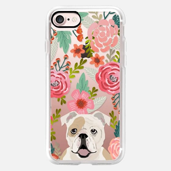 English Bulldog white and tan cute bulldog themed cell phone case with florals -