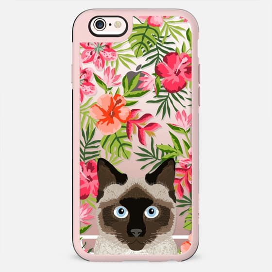 Siamese Cat tropical hawaiian palm tree summer cell phone case for cat lovers by pet friendly
