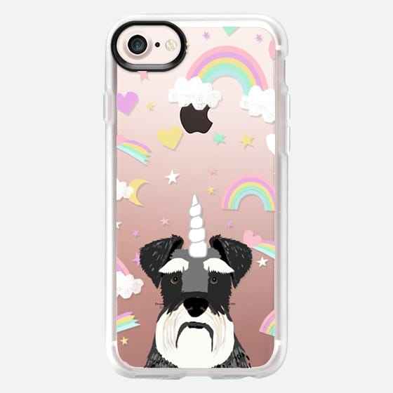 Schnauzer unicorn and rainbows clear case transparent cell phone case for dog lovers dog breeds - Classic Grip Case