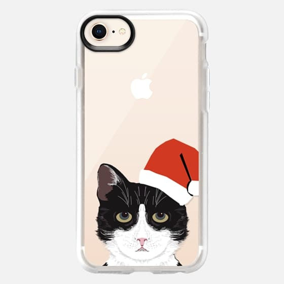 Funny black and white tuxedo cat with santa hat christmas party costume for cat - Snap Case
