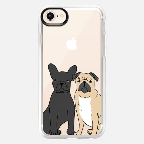 Frenchie and Pug - Cute french bulldog and pug iphone 6 clear case, cute dogs case - Snap Case