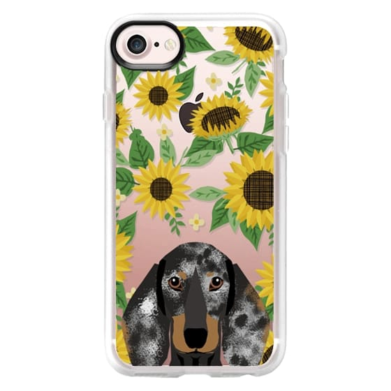 iPhone 7 Plus Cases - Dachshund dapple coat dog breed clear case transparent sunflower florals summer cell case iphone dog breed pet art