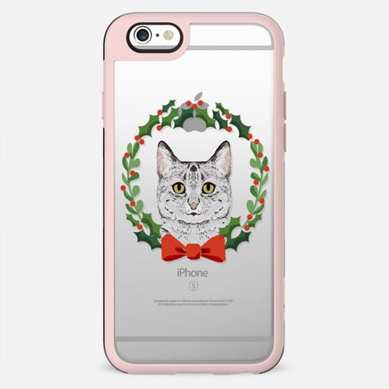 Egyptian Mau cat breed christmas holiday clear pet friendly tech accessories wreath - New Standard Case