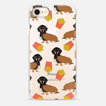 iPhone 8 Case Dachshund cute hot dog and french fries junk food moxie owners must haves iphone6 transparent pet portraits
