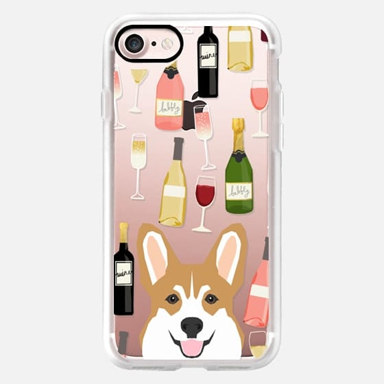 Corgi welsh corgi wine champagne cocktails cute clear case for dog lovers pet portraits -