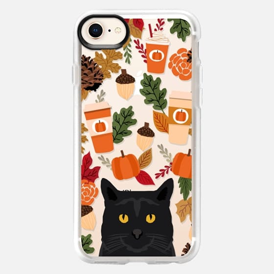 black cat must have gifts for fall autumn pumpkin spiced latte coffee cell phone case - Snap Case