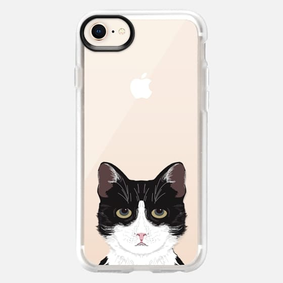 Funny black and white cat for cat lady hipster tuxedo cat kitten transparent phone case with cat print - Snap Case