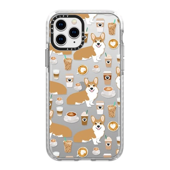iPhone 11 Pro Cases - Welsh Corgi coffee lover clear cell phone case gifts custom pet portrait for corgi lovers