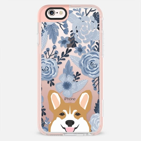 Cute Corgi Florals - blue style cute flowers painted flowers clear phone case for corgi owners -