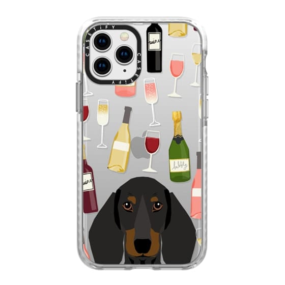 iPhone 11 Pro Cases - Dachshund black and tan dog breed cute clear case with dog face doxie dachsie wine coctails
