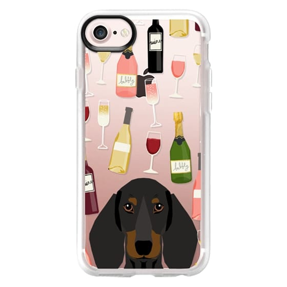 iPhone 7 Cases - Dachshund black and tan dog breed cute clear case with dog face doxie dachsie wine coctails