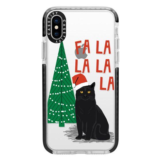 iPhone X Cases - xmas fa la la la cat christmas holiday santa black cat pet friendly