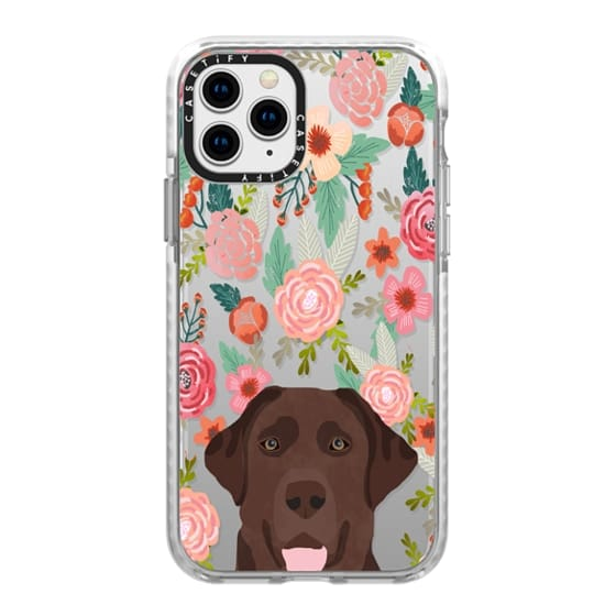 iPhone 11 Pro Cases - Chocolate Labrador retriever floral flowers cute clear transparent case for dog lover