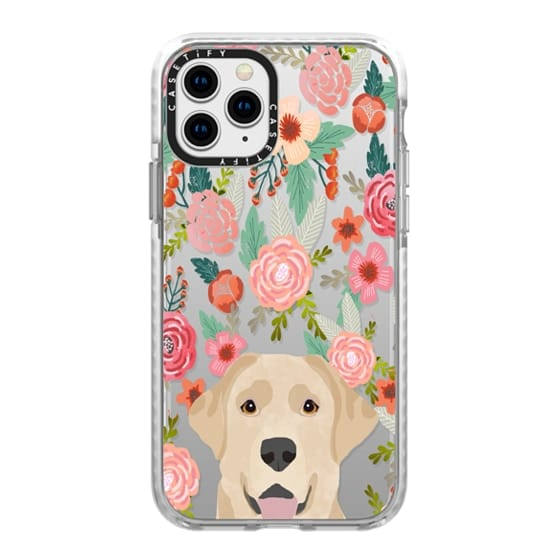 iPhone 11 Pro Cases - Yellow Labrador retriever floral flower clear case tech accessories for dog lovers