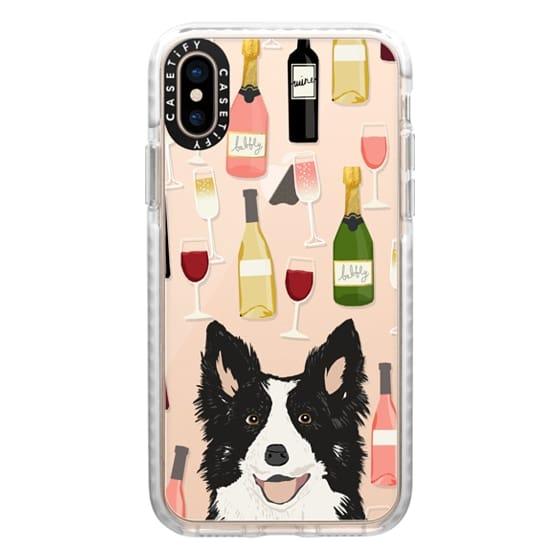 iPhone XS Cases - Border Collie wine bubbly champagne cocktail hour border collies clear dog breed case