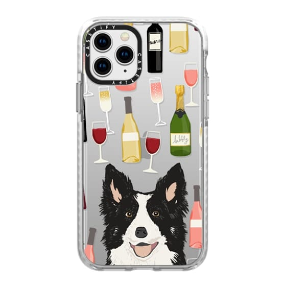 iPhone 11 Pro Cases - Border Collie wine bubbly champagne cocktail hour border collies clear dog breed case