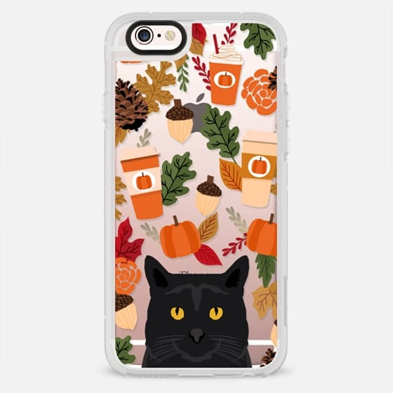 black cat must have gifts for fall autumn pumpkin spiced latte coffee cell phone case - New Standard Case
