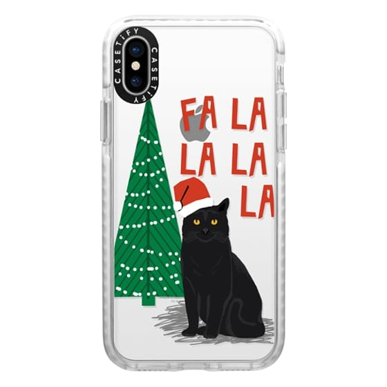 iPhone X Cases - xmas fa la la la cat christmas holiday santa black cat pet friendly
