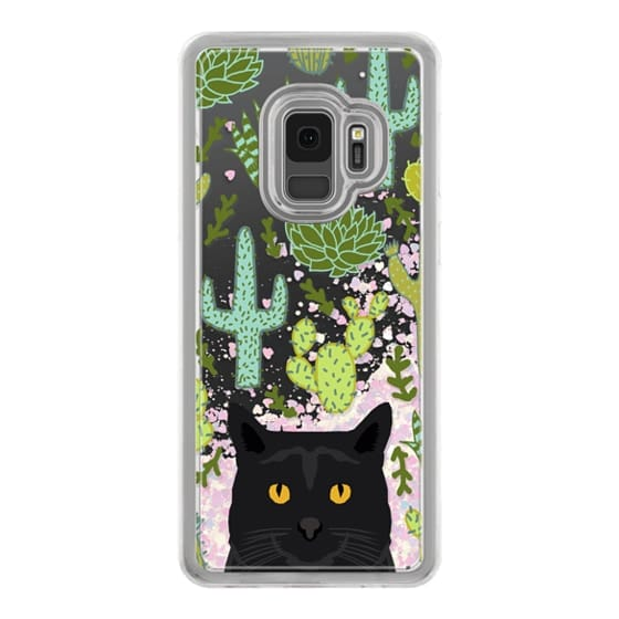 Samsung Galaxy S9 Cases - Black Cat cute cat lady gift with cactus succulents nature pattern southwest pet gifts