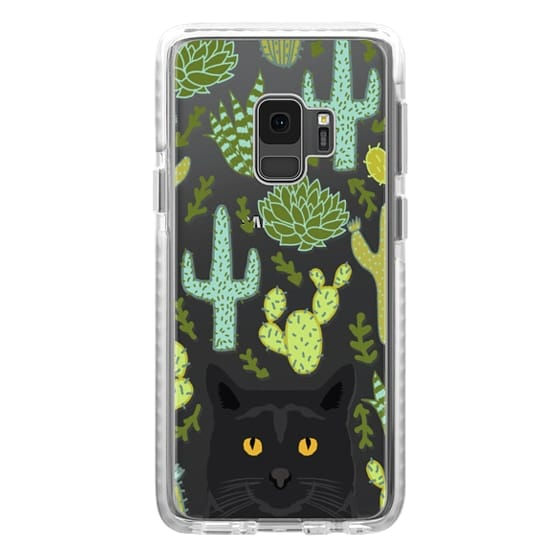 sports shoes 2dc7e 0d56b Impact Samsung Galaxy S9 Case - Black Cat cute cat lady gift with cactus  succulents nature pattern southwest pet gifts