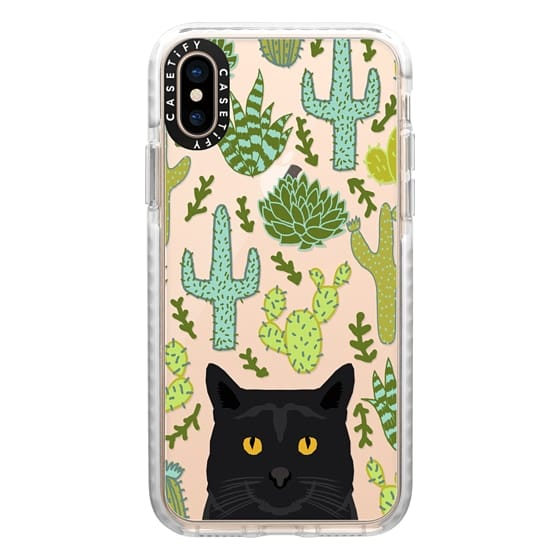 iPhone XS Cases - Black Cat cute cat lady gift with cactus succulents nature pattern southwest pet gifts