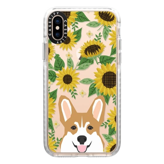 iPhone XS Cases - Corgi sunflowers floral sunflower pattern cell phone clear case transparent pet friendly gifts