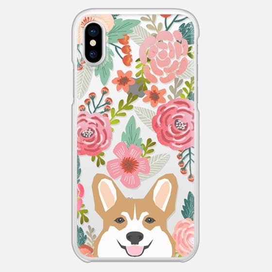 Corgi in the flowers cute spring corgi dog cell phone case for corgi owners