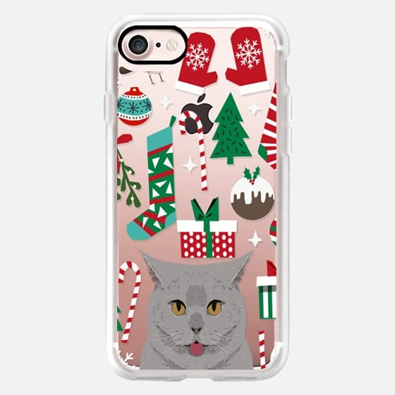 british shorthair cat breed christmas presents christmas tree cute cat gifts iPhone clear case -