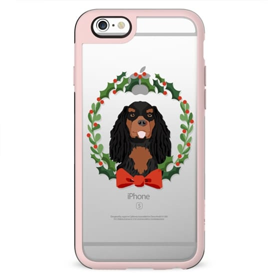 Cavalier King Charles Spaniel black and tan dog christmas holiday clear pet friendly tech accessories wreath