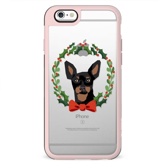 Min Pin doberman dog breed christmas clear case wreath pet lover gifts tech accessories for dog person