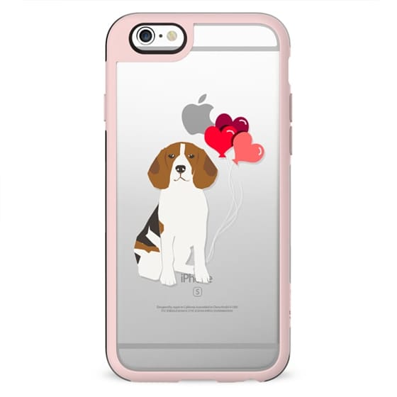 Beagle valentines day love hearts cute clear cases for pure breed dog lovers